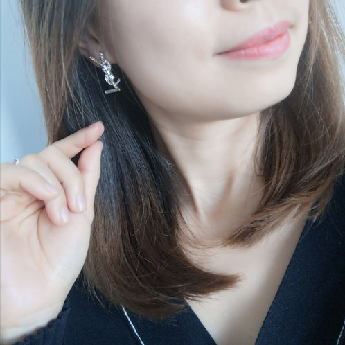 YSL Design 925 Sterling Silver Post fashion lady earring