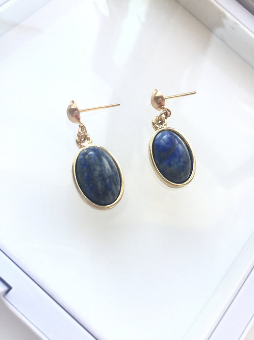 Woman 100% Genuine Lapis lazuli Gemstone yellow gold plated Dangle Earri