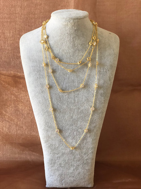 FASHION GOLD COLOUR LONG NECKLACE WITH SWAROVSKI CRYSTALS