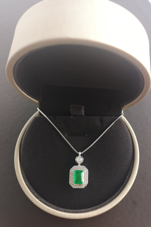 Emerald Pendant Lady Fashion Necklace Created Emerald stone with cubic zirconia