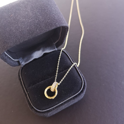 Interlocking Circles with high quality cubic zirconia pendant Fashion Necklace