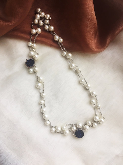 Women Long Chain Sweater Pearl Necklace Fashion Design