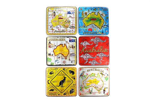 Australian Souvenir Coaster set Australia map kangaroo aboriginal Aussie gift