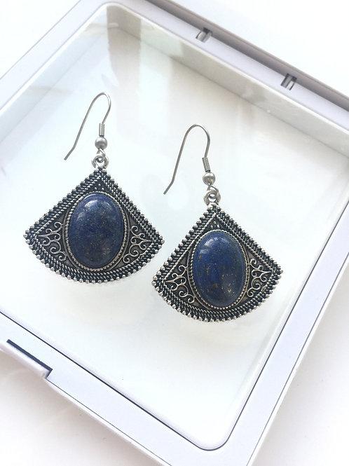 Woman 100% Genuine lapis lazuli Gemstone sterling silver Dangle Earrings