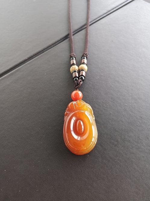 Ruyi Luck Fortune Natural Red agate Pendant Gemstone Necklace Gift