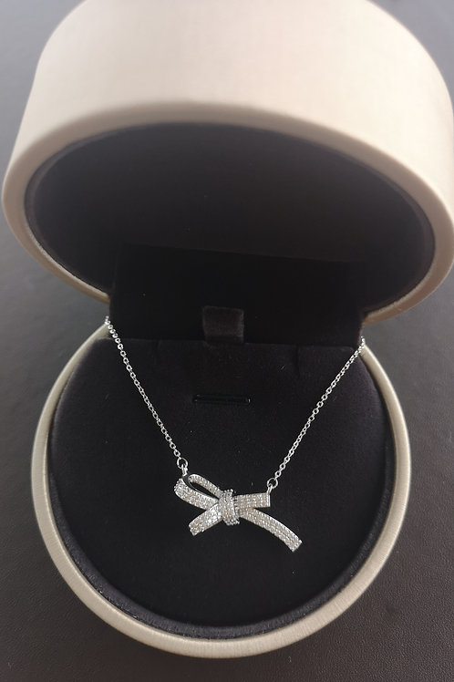 Cubic Zirconia Bowknot Pendant Lady Fashion Necklace Nice Gift Choice