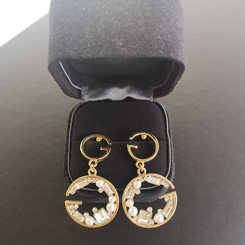 Gucci Design Yellow Gold Colour Lady Fashion Earrings