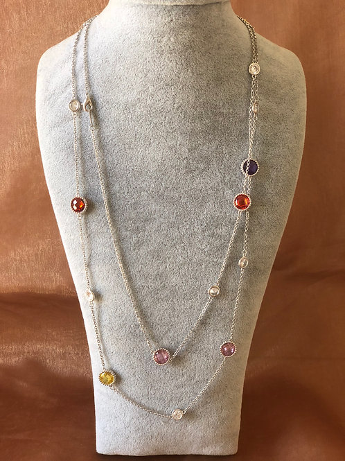 FASHION SILVER COLOUR LONG NECKLACE WITH  SWAROVSKI crystals