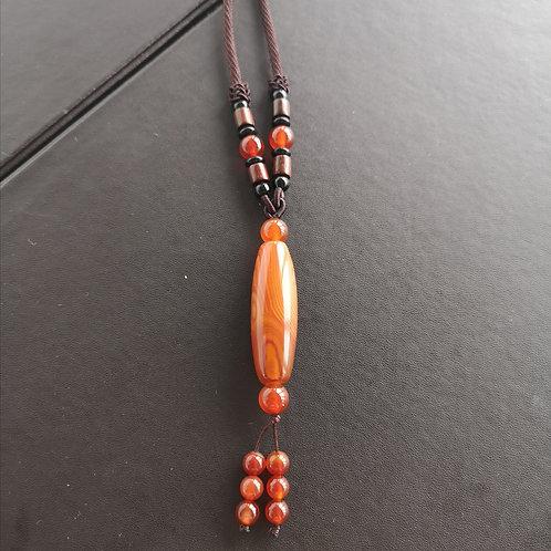 Olivary shape Natural agate Pendant Crystal Stone Gemstone Necklace Gift