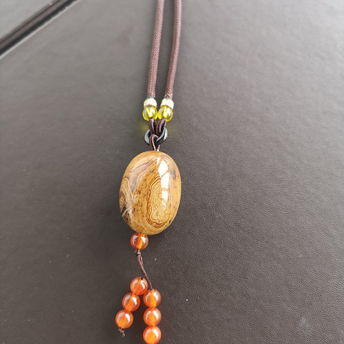 Red & White Cabochon Shape Natural agate Pendant Necklace Gift