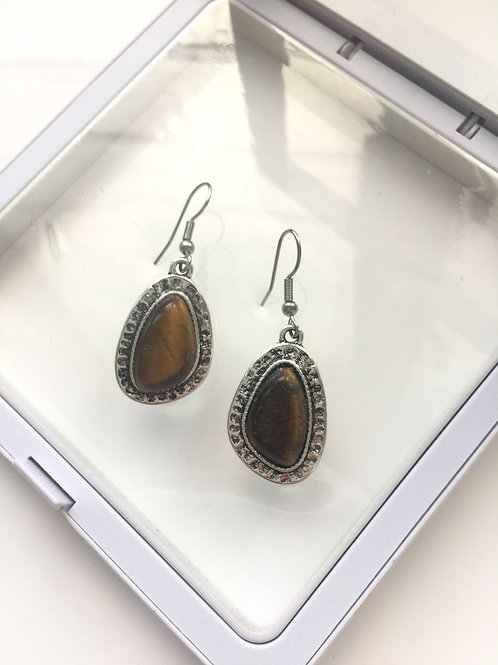 Woman 100% Genuine tiger eye Gemstone sterling silver Dangle Earrings