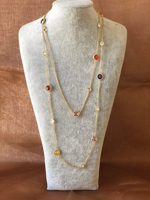 FASHION GOLD PLATED LONG NECKLACE WITH SWAROVSKI CRYSTALS