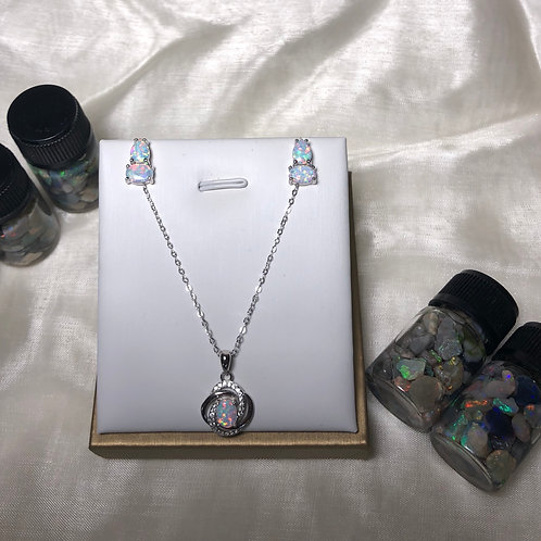 S925 sterling silver fashion opal necklace and earring set