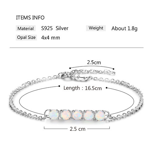 S925 sterling silver lady opal fashion braclet fashion jewellery