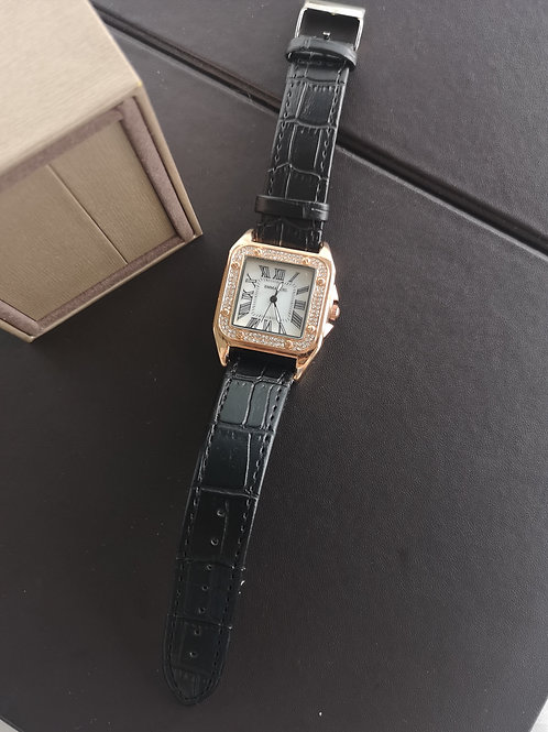 Women Fashion Dress Leather Band Ladies Faux Leather Strap Quartz Analog