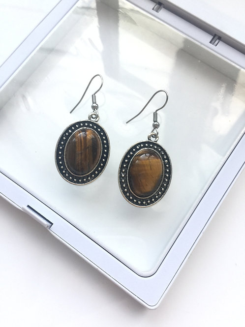 Woman 100% Genuine tiger eye Gemstone sterling silver Dangle Earrings