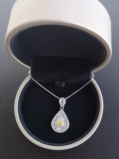 Premium Quality 925 Sterling Silver Pear Shape Pendant Fashion Necklace
