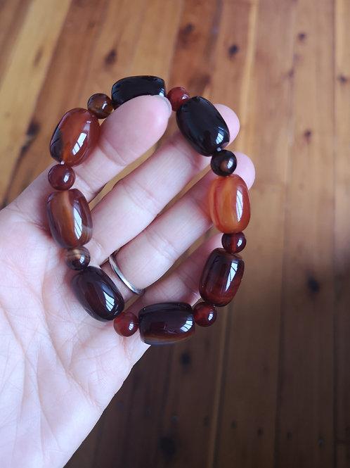 Genuine Natural Dendritic Agate Barrel Beads Gemstone Bracelet