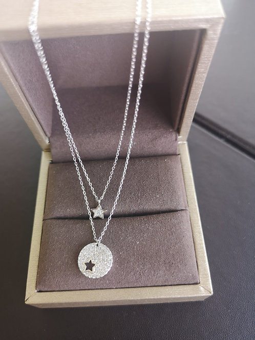 Star Design Pendant with double-layer Necklace