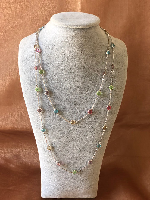 FASHION SILVER  LONG NECKLACE WITH  SWAROVSKI crystals