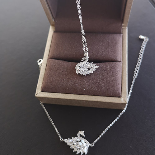 925 Sterling Silver Plated Swan Design Fashion Gift Set