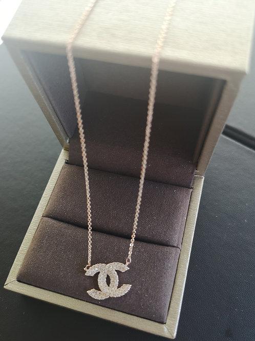 18K Rose Gold Plated  Double C Design Pendant Lady Fashion Necklace