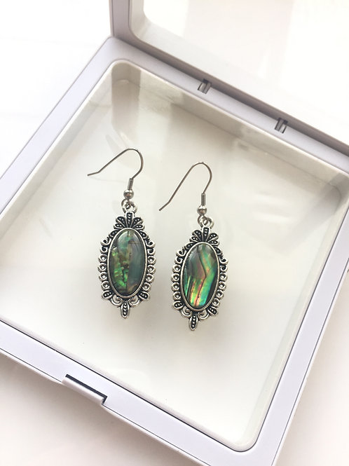 Woman 100% Genuine abalone shell sterling silver Dangle Earrings