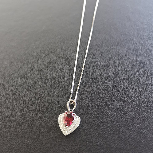 S925 sterling silver created Ruby & 3A zircon Pendant neckalce