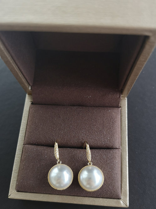 Gold Plated MABE PEARL Design, Vintage Pearl Earrings