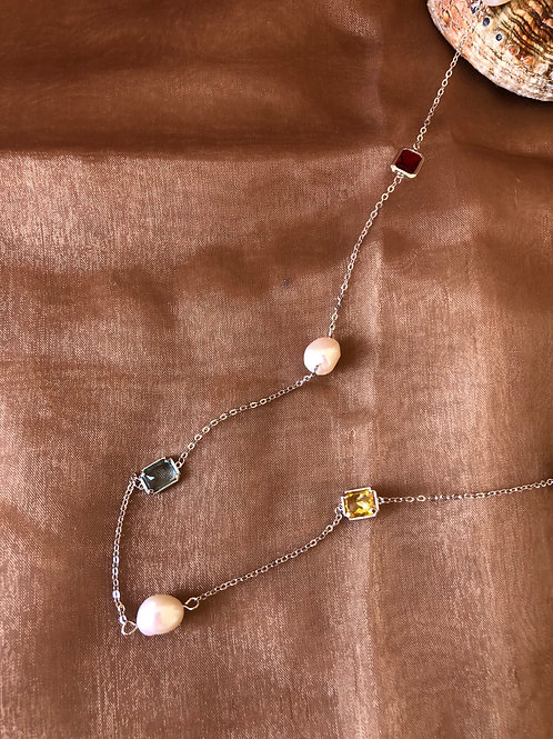 FASHION LONG NECKLACE WITH  FRESH PEARLS AND SWAROVSKI CRYSTALS