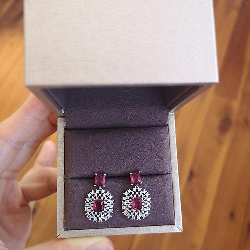 Ruby Colour Swarovski Crystal Lady Fashion Earring