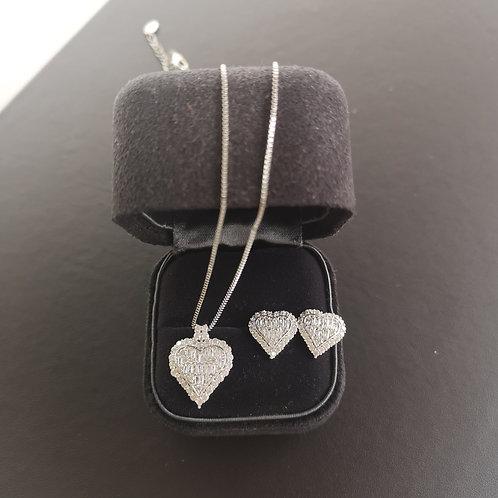 Tiffany Heart Design Pendant Necklace & Earrings Gift Set