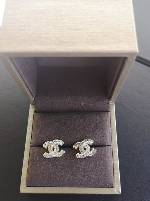 Gold Plated 925 Sterling Silver Post Double C Design fashion lady earrin