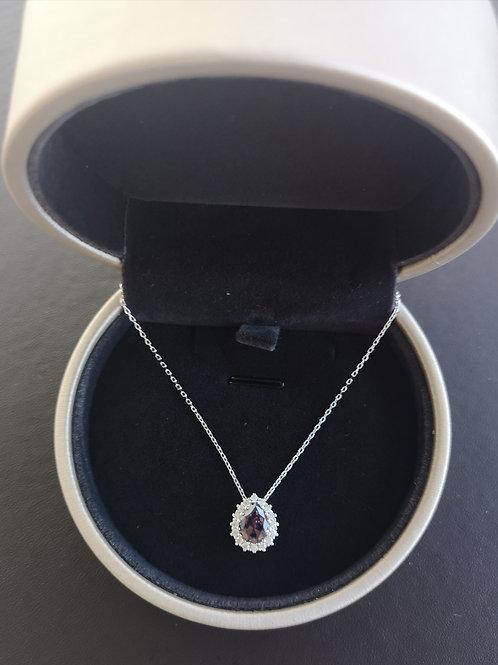 AAA Purple morganite Pear Shape Pendant Lady Fashion Necklace