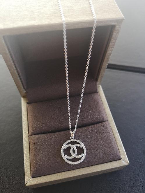Top Seller Silver Colour Double C Design Pendant Lady Fashion Necklace