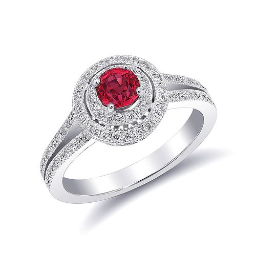 14k White Gold 0.95ct TGW Natural Red Spinel and White Diamond Ring