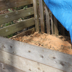 Layering the compost with manure and sawdust