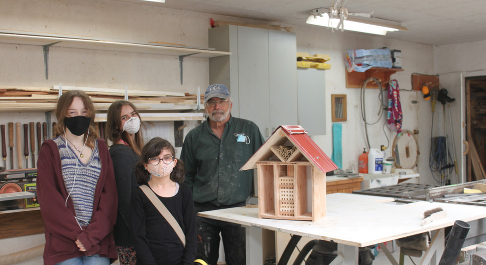 The gang with their (almost) finished bee house