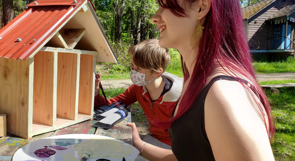 Painting the bee house