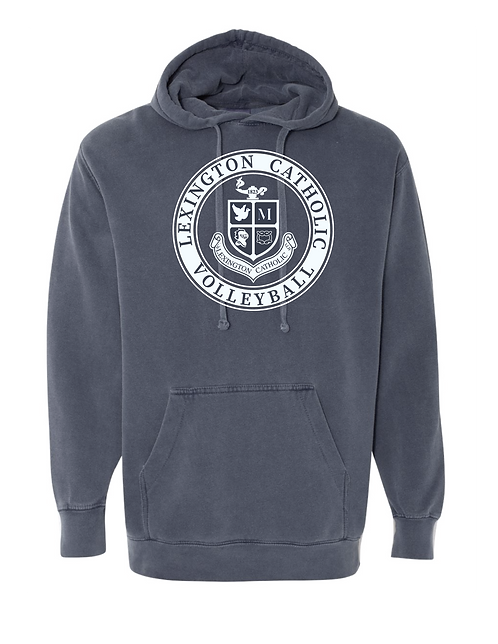 Comfort Color Volleyball Hooded Sweatshirt-Denim