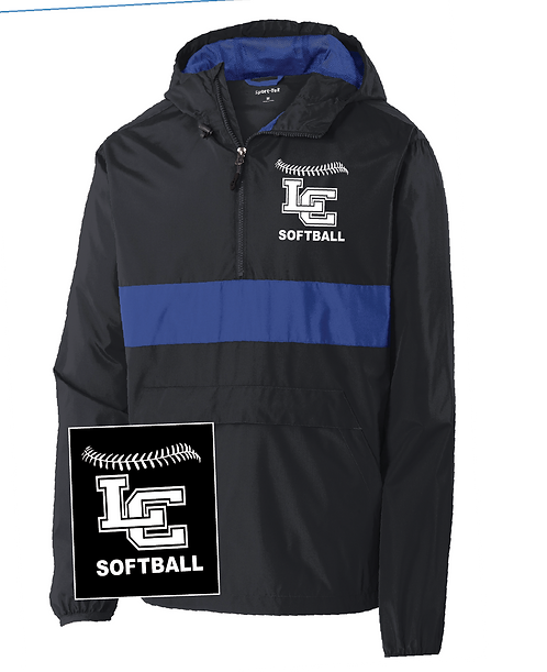 LC Softball  Pocket Anorak Rainjacket-Black/Royal
