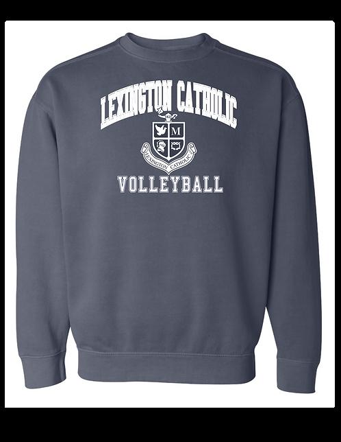 Comfort Washed Volleyball Arch Crewneck Sweatshirt-Denim