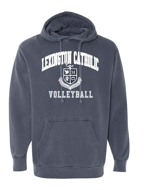 Comfort Color Volleyball Arch Hooded Sweatshirt-Denim