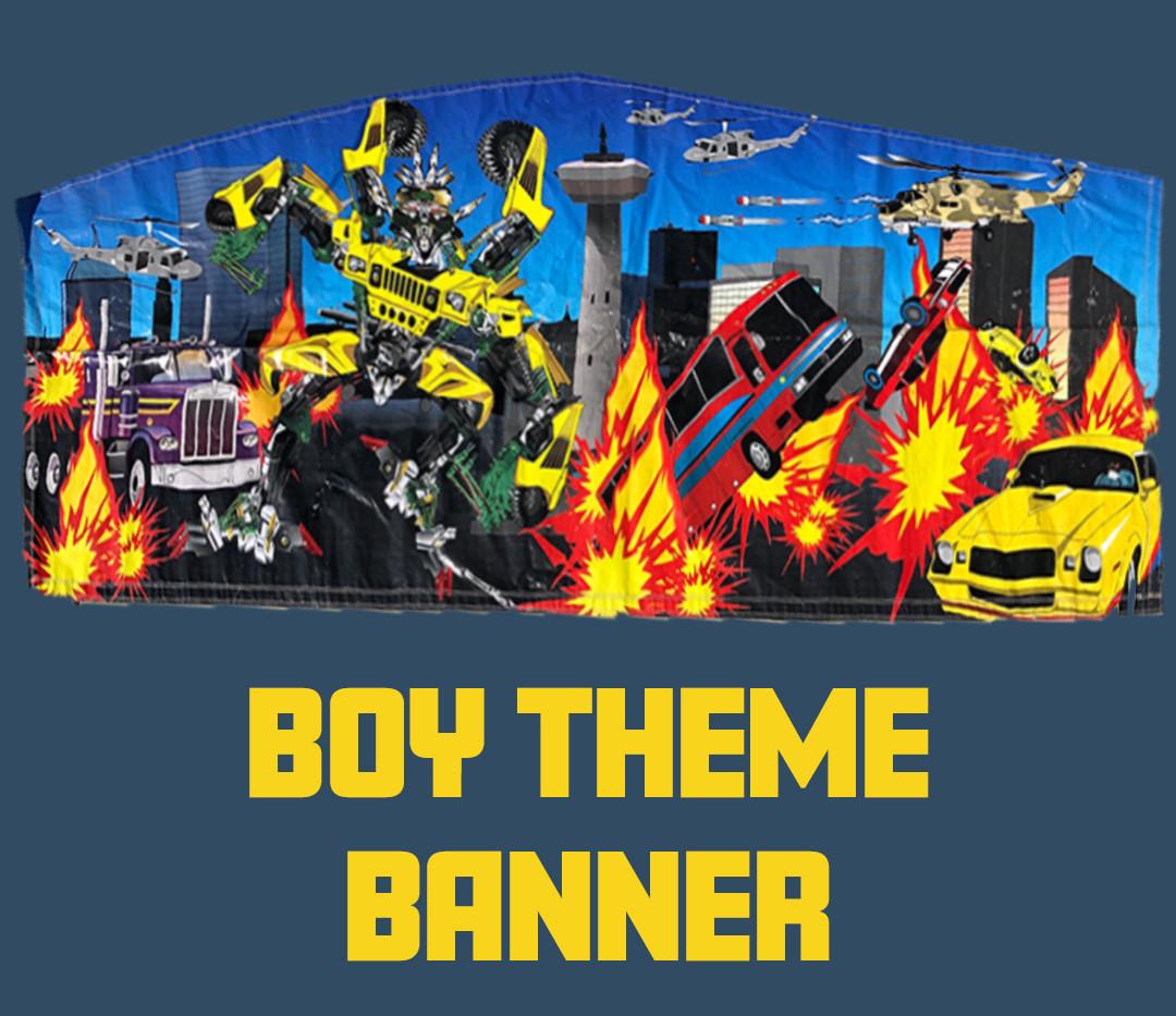 Custom Party House Boy Theme Banner