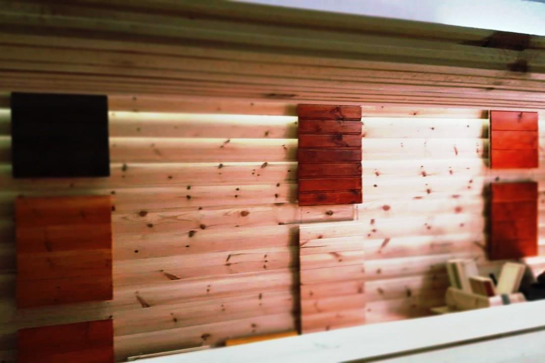 ไม้ฝาสน แบบท่อนซุง ไม้ตกแต่งผนัง ผนัง ไม้สน ไม้จริง