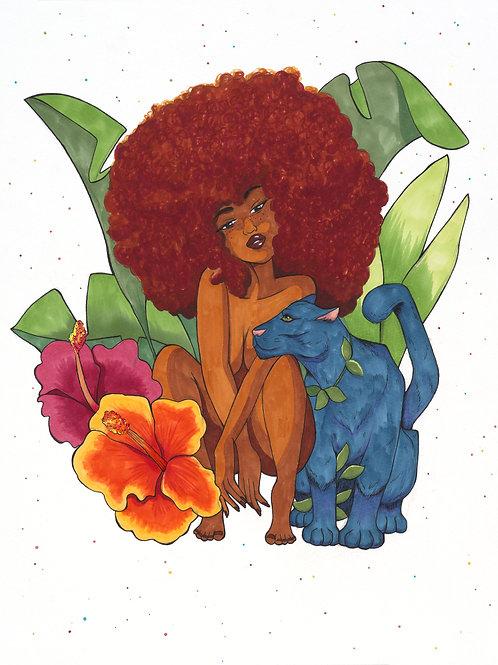 Panther+Plants 11x14 Print