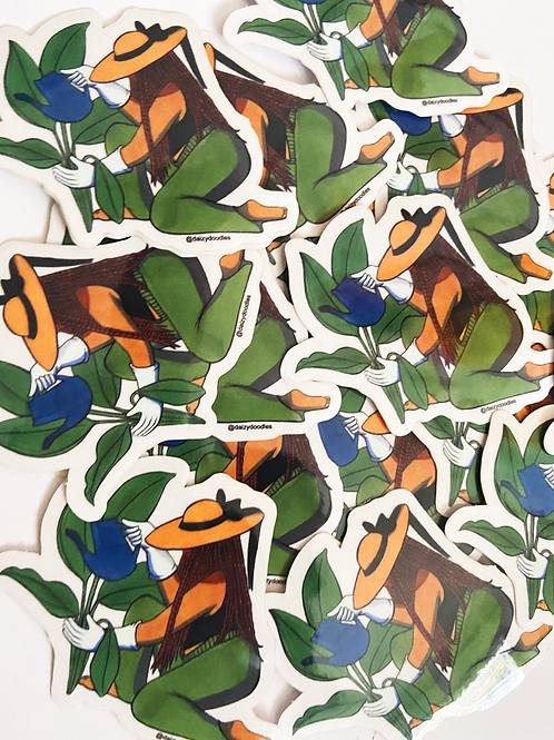 Garden Girl Vinyl Sticker