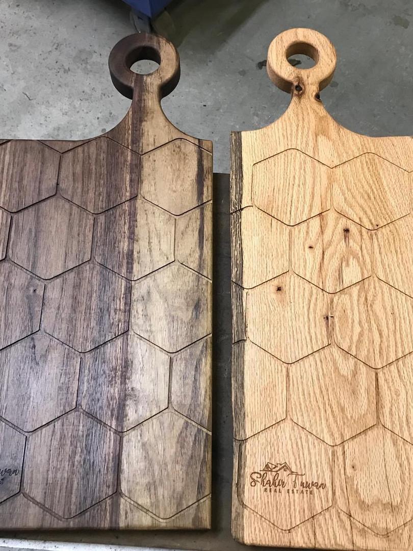 walnut and oak, Honeycomb CNC pattern
