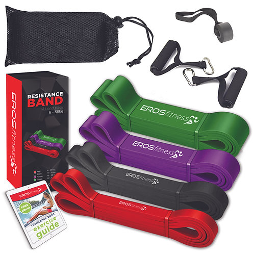 'Gym in a box' 4 pack resistance bands with handles & door anchor kit