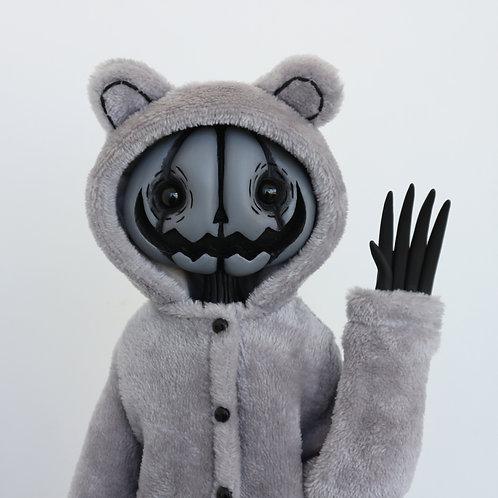 "16"" (M) grey bear onesie pumpkin doll"